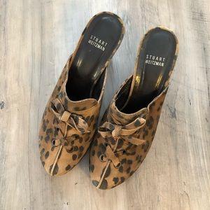 Stuart Weitzman Leopard Print High Heel Mules Clog